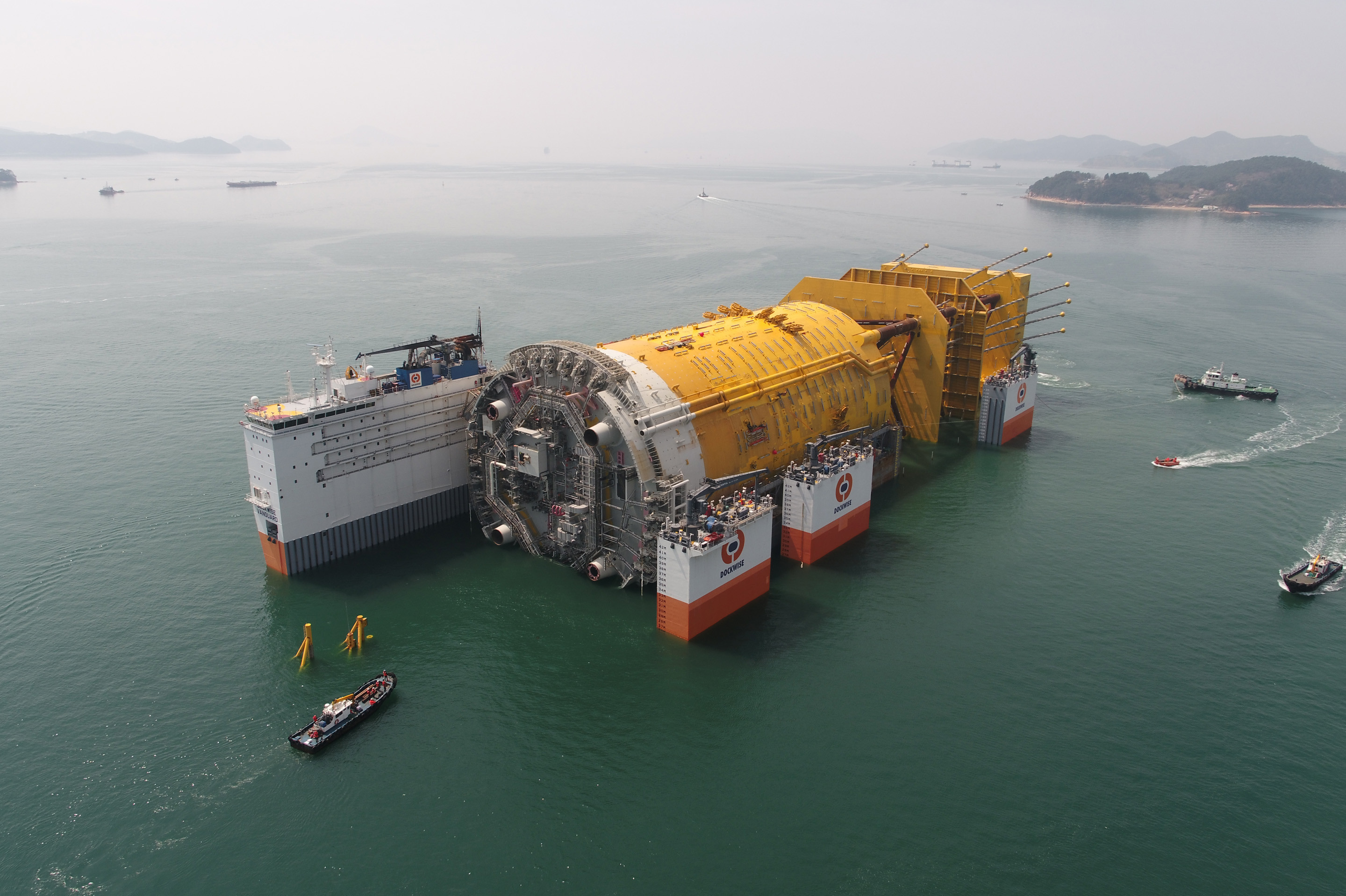 The Dockwise Vanguard transporting the world's largest spar platform Aasta Hansteen from South Korea to Norway