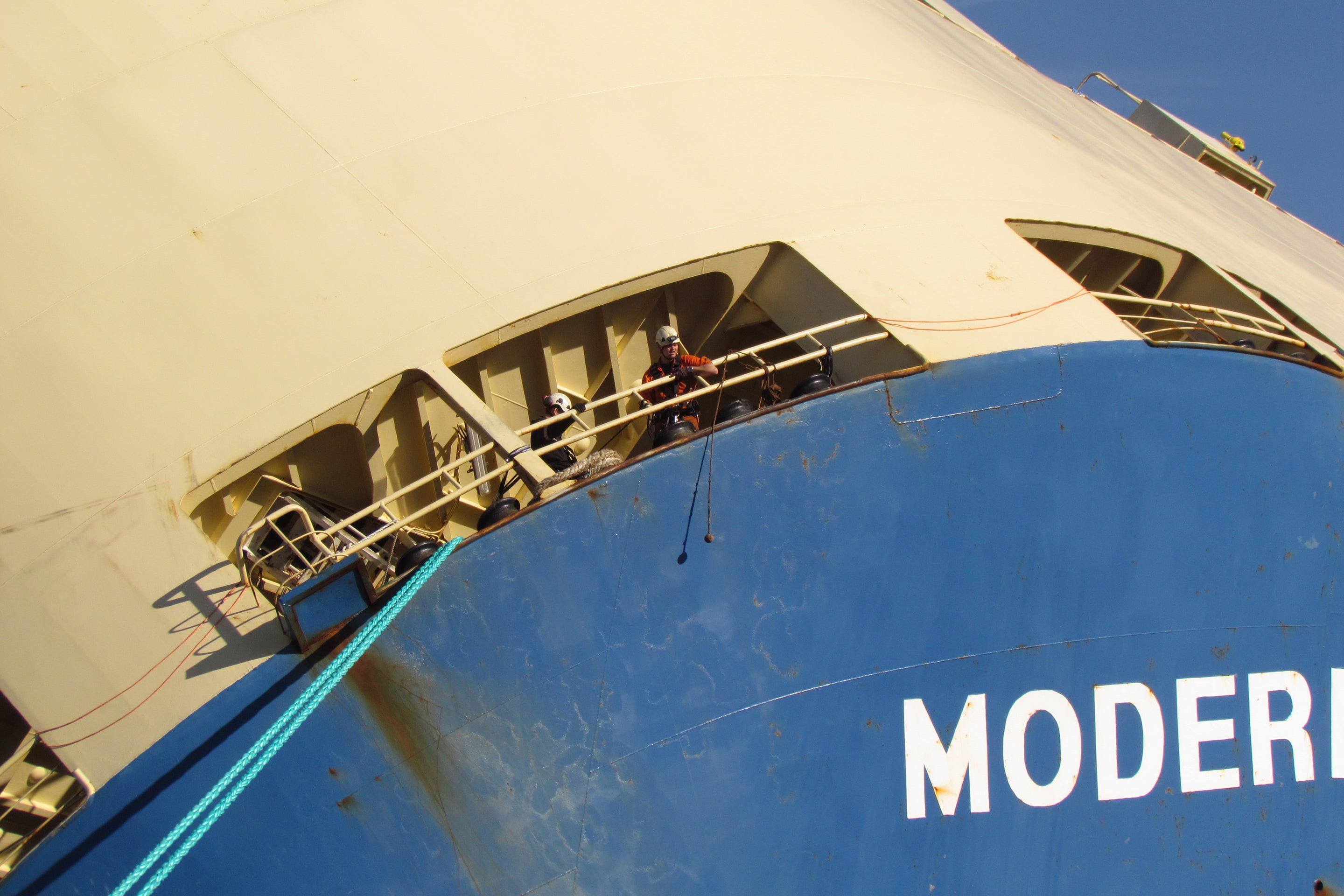 The salvage team on board the Modern Express