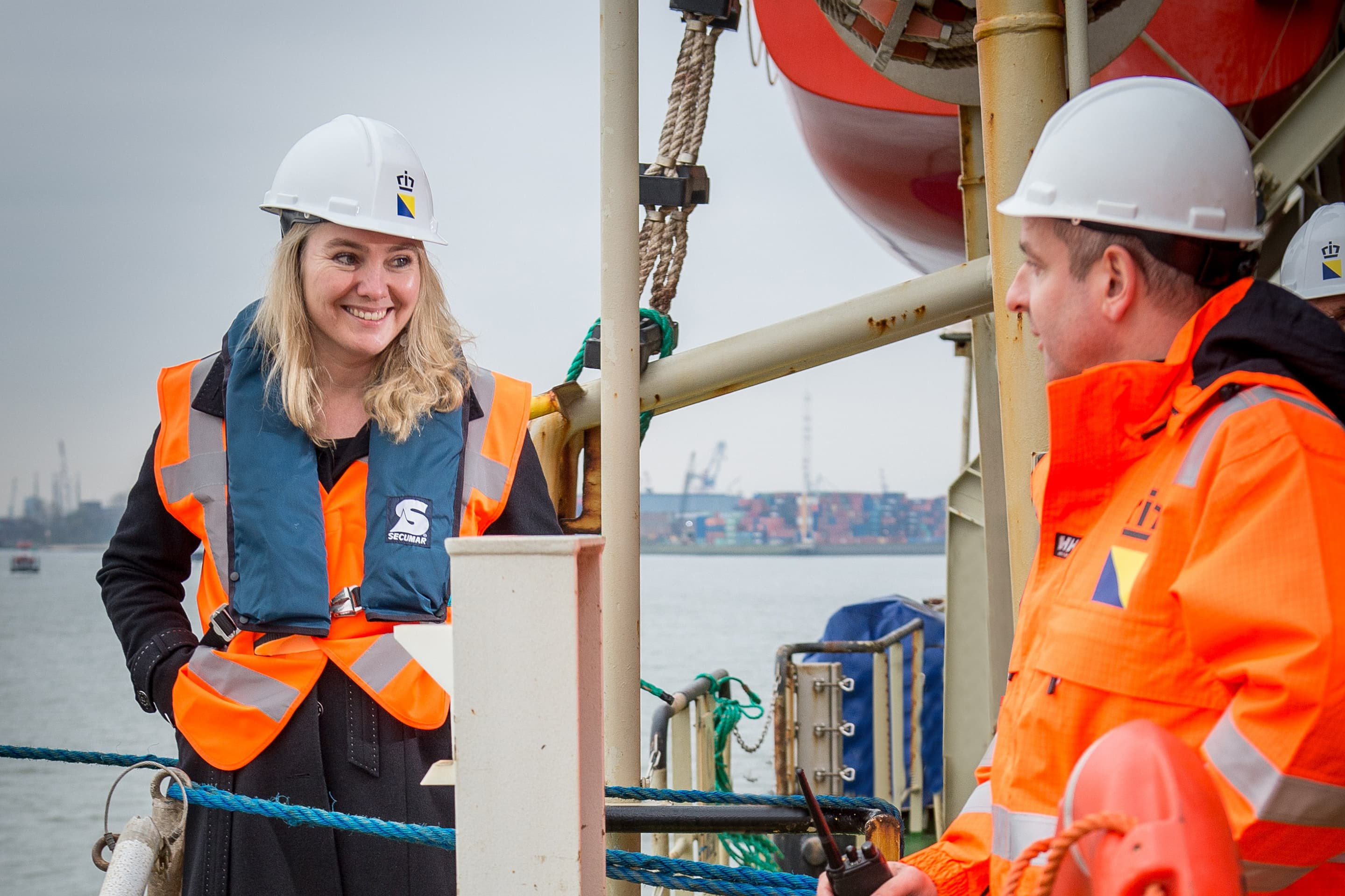 Minister Schultz van Haegen is visiting a Boskalis trailing suction hopper dredger in 2013