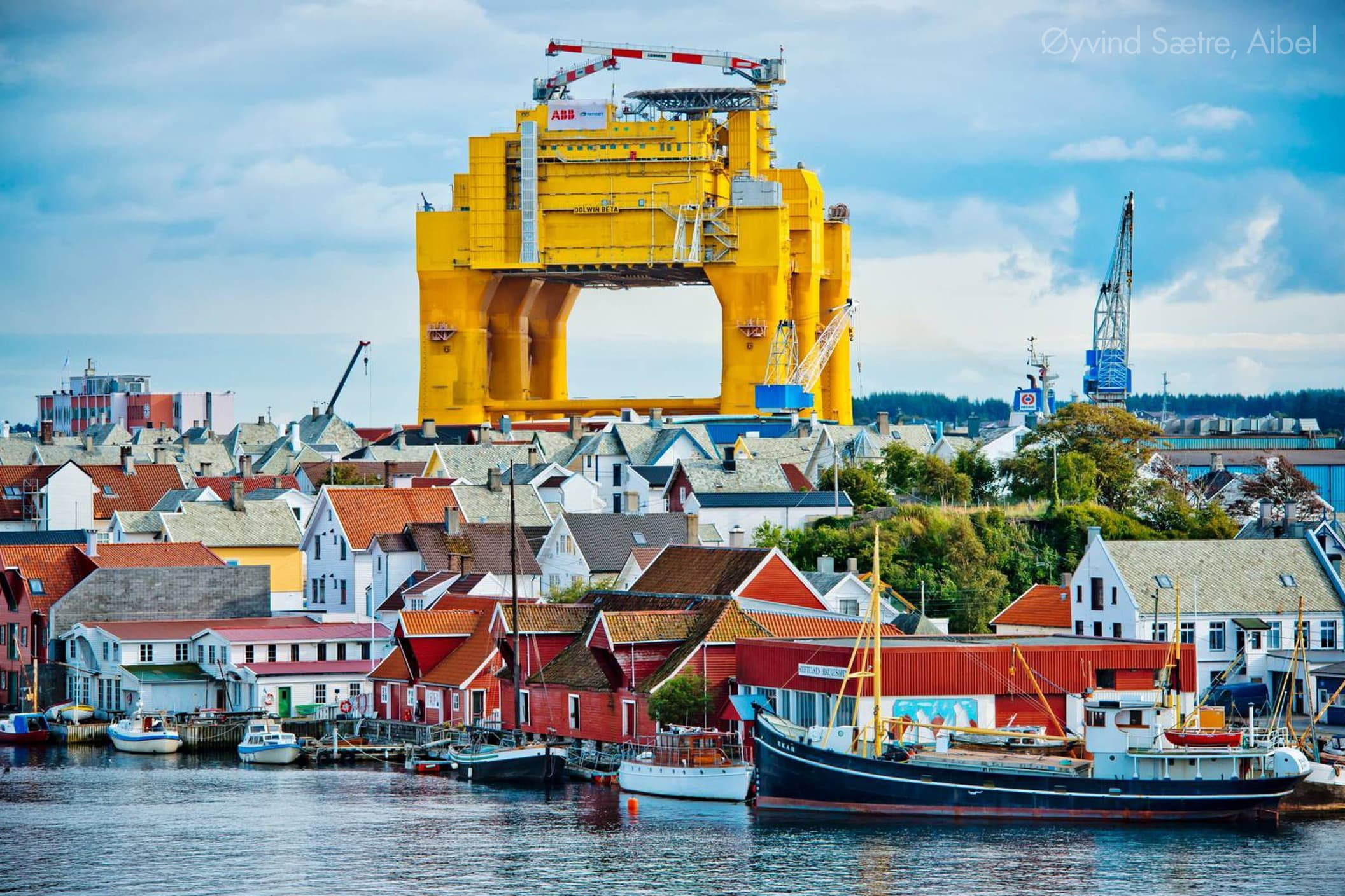 Further outfitting of the platform in Haugesund, Norway