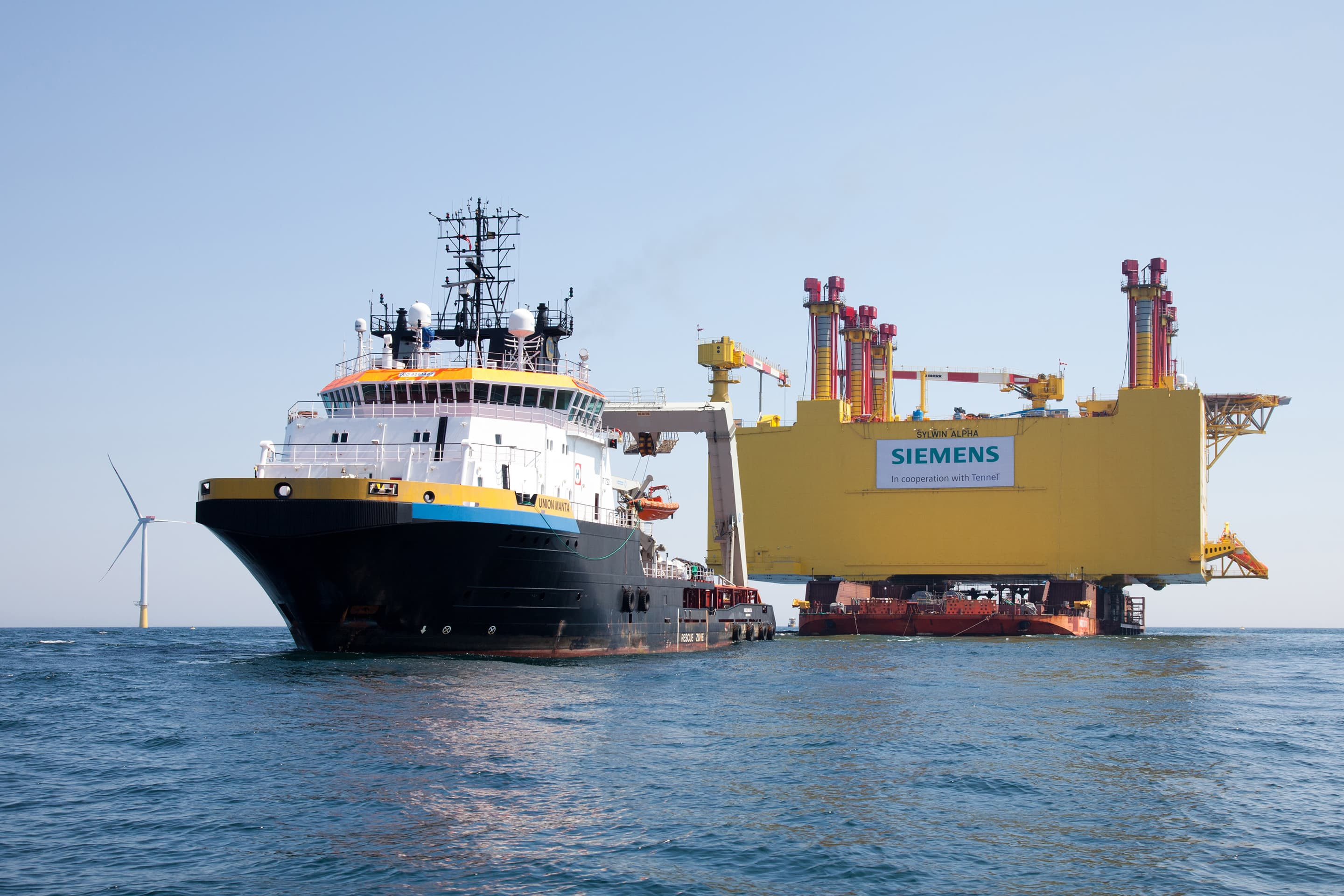 Towage of the SylWin Alpha platform by anchor handling tug Union Manta