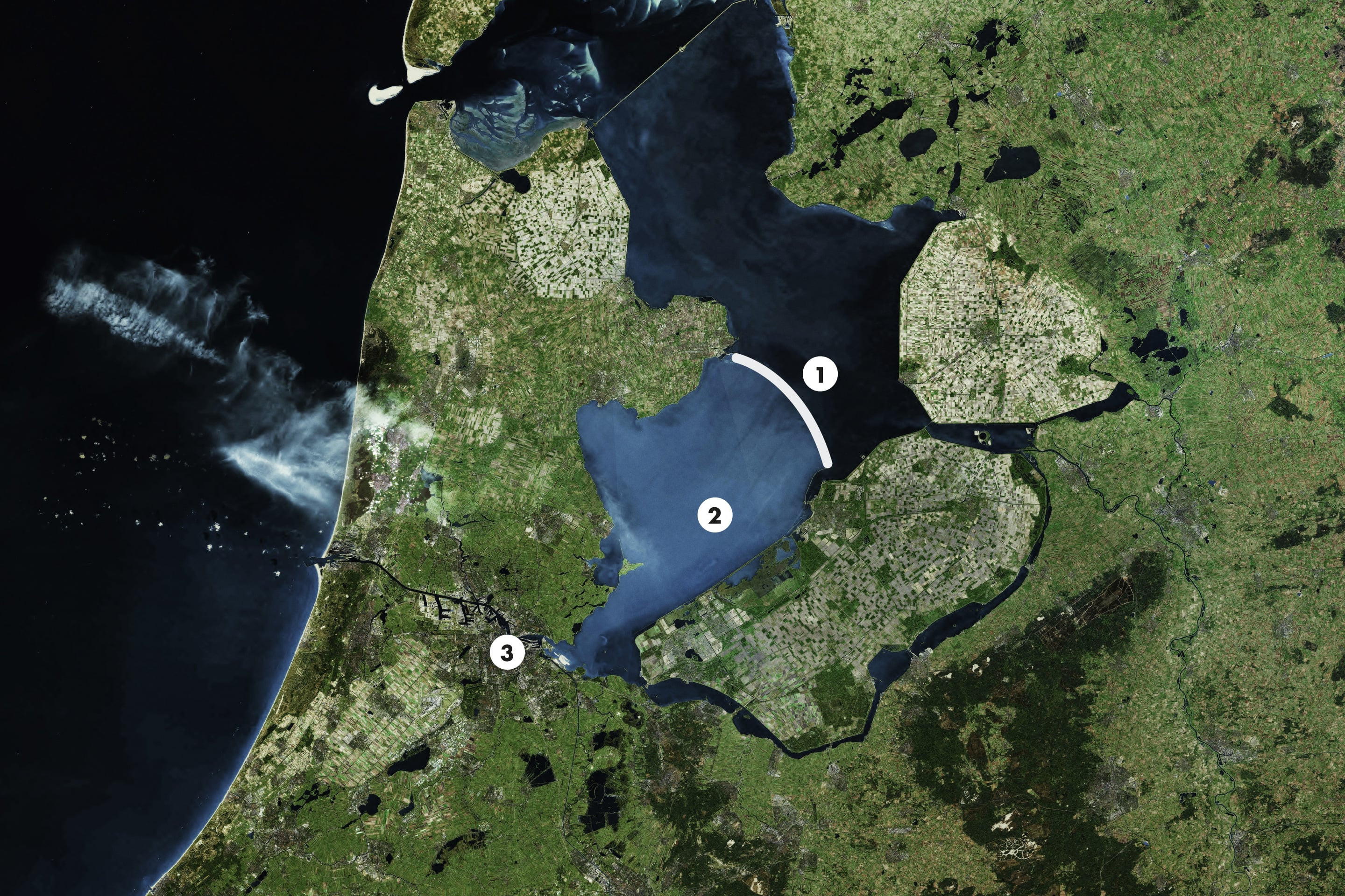 <strong>1</strong> Houtrib dike, <strong>2</strong> Markermeer lake, <strong>3</strong> Amsterdam