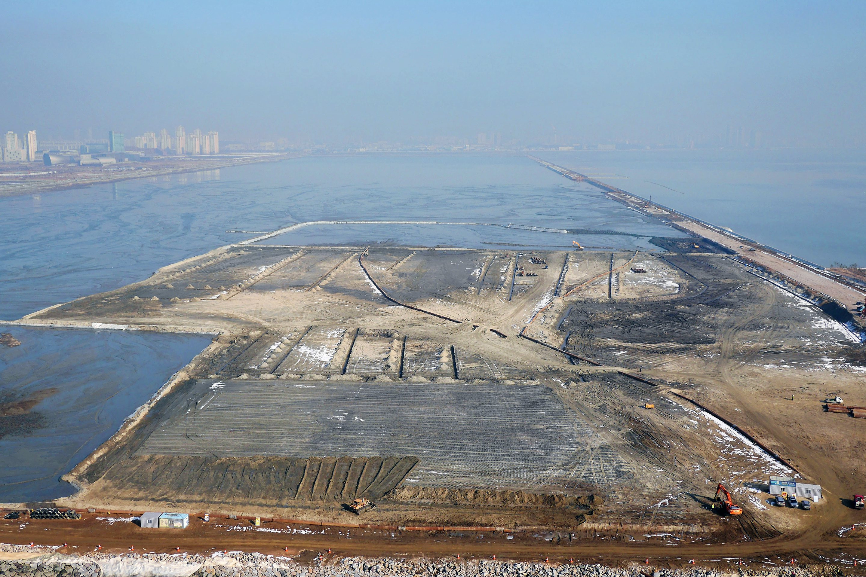 Aerial view of land reclamation
